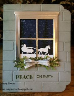 handmade winter/Christmas card from Inky Moose ... die cut window from metallic gold ... night scene outside with Santa and sliegh silhouette in whte against a dark snowy sky ... white brick embossed texture ... fun curvy corners ... Stampin' Up!