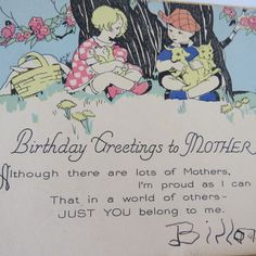 MOTHERS BIRTHDAY Card - 1930s Birthday Greetings to Mother from Child Son
