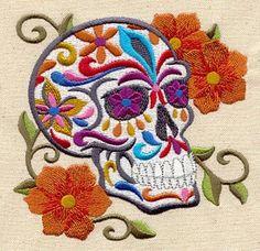 Calavera cráneo cultura mexicana Dia De Los Muertos bordados toalla de mano saco de harina