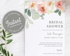 Blush Floral Bridal Shower Invitation Printable | Watercolor Floral Bridal Shower Invitation