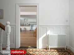 Stunning example of how good our Trade Direct Column Radiators look in a period property. Love the floor tiles too! Hydronic Heating, Column Radiators, Heating Systems, Own Home, Tile Floor, Period, Tiles, Entryway, Flooring