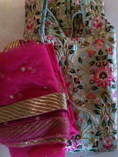 Dresses Do you feed the birds in your garden? Punjabi Salwar Suits, Designer Punjabi Suits, Indian Salwar Kameez, Indian Designer Wear, Churidar, Party Wear Indian Dresses, Indian Bridal Outfits, Embroidery Suits Punjabi, Embroidery Suits Design
