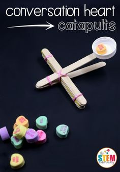 I love these conversation heart catapults! Super fun STEM for Valentine's Day. I love these conversation heart catapults! Super fun STEM for Valentine's Day. My Funny Valentine, Valentine Theme, Valentines Day Party, Valentine Day Crafts, Valentine Ideas, Christmas Crafts, Valentines Day Activities, Holiday Activities, Stem Activities