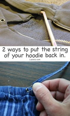 Hoodie drawstring fix: you can push one end of the string through a straw, staple it on, and then push it back through the narrow tunnel of your hoodie.