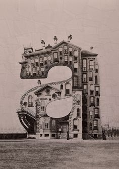 Familiar letters become surreal buildings in this series of photographic collages.
