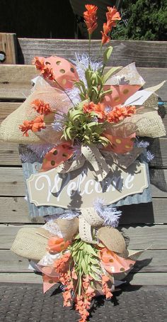 "24"" Welcome Flower Wreath Welcome Floral Door Decor Welcome Teardrop Peach Gold Welcome Wreath Wildflower Wreath Welcome Burlap Door Decor"