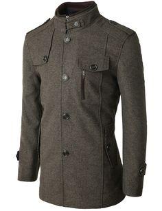 Wool Blended Mock Neck Single Button Outerwear Coat #doublju