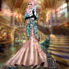Modesty with Fur-balls Fashion Illustration Poses, Fashion Illustrations, Fashion Sketches, Illustration Art, Modest Fashion, Hijab Fashion, Women's Fashion, Hijab Gown, Hijab Drawing