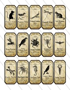 Magic Animals Apothecary Bottle Jar Labels Tags Halloween printable images digital collage sheet 094. $3.20, via Etsy.