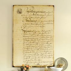 Create antique style document for home decor, with link for free antique documents, from No Minimalist Here blog.