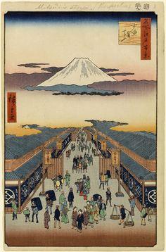 Suruga-chō (No. 8) from 100 Famous Views of Edo by Ando Hiroshige, Utagawa School Japanese Woodblock Print, Brooklyn Museum [x]