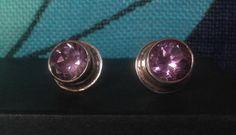 Amethyst gemstone handmade stud earrings by FlamesJewels on Etsy