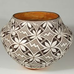 "#adobegallery - Acoma Pueblo Intricate Design Water Jar. Marie Zieu Chino (1907-1982) Category: Contemporary Origin: Acoma Pueblo Medium: clay, pigment Size: 8"" height x 10-3/4"" diameter Item # C3782"