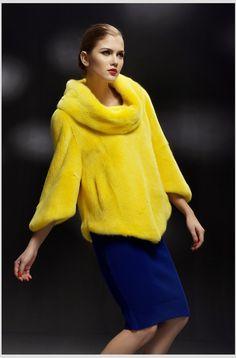 ** yellow mink jacket
