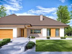 One Storey House, Modern Farmhouse Design, Bungalow House Plans, House Blueprints, Small House Design, Facade House, Home Design Plans, House Colors, Beautiful Homes
