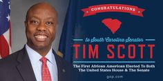 """Historic win for @votetimscott! The first African American EVER voted to both the House & Senate.  """" #BlackTwitter #p2"""