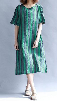 Women loose fit plus large size pocket dress stripes tunic Bohemian Boho fashion #unbranded #dress