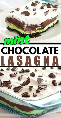 Mint Chocolate Lasagna is a no-bake, one-pan dessert with layers of mint cream cheese, chocolate pudding and Cool Whip on an Oreo crust. #mintrecipes #mintdesserts #amandascookin #easydesserts #nobakedesserts Mint Desserts, No Bake Desserts, Easy Desserts, Delicious Desserts, Dessert Recipes, Chocolate Lasagna, Chocolate Pudding, Mint Chocolate, Oreo Layer Dessert
