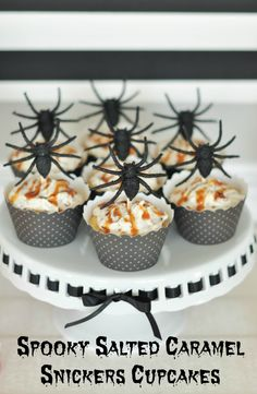 Snickers cupcakes and DIY spider cupcake toppers. Halloween Dessert and drink table #shop #spookycelebrations #cbias