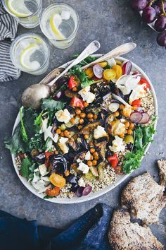 Roasted Aubergine & Millet Salad with Hot Chickpeas and Feta — Green Kitchen Stories - Roasted Aubergine & Millet Salad with Hot Chickpeas and Feta — Green Kitchen Stories - Veggie Recipes, Real Food Recipes, Salad Recipes, Healthy Recipes, Pesto Vinaigrette, Grain Salad, Green Kitchen, Kitchen Modern, Kitchen Stories