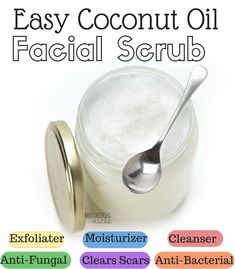 Beauty Tips Coconut Oil Facial scrub. - This coconut oil facial scrub might just change your life. It did mine. I know longer purchase facial products because coconut oil is cheaper and is so good for the skin Coconut Oil Facial, Coconut Oil Uses, Benefits Of Coconut Oil, Coconut Oil For Skin, Facial Oil, Coconut Oil Scrub, Salud Natural, Homemade Beauty Products, Facial Products