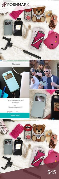 📲 iPhone 6 Bundle 9 phone cases. Used but in really good condition. The 2 mirrored cases (Rosegold & Gold) have scratches on them. Includes selfie stick and stylist. Price has been greatly reduced from original price paid for the cases. Just the one teal Caseco case is $50. Sorry no holds, trades Accessories Phone Cases