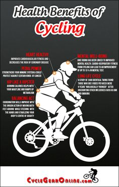 The Health Benefits of Cycling are so understated as illustrated by this infographic from http://cyclegearonline.com/health-benefits-of-cycling-infographic/