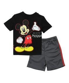 Look at this #zulilyfind! Black Mickey Mouse Tee & Shorts - Toddler #zulilyfinds