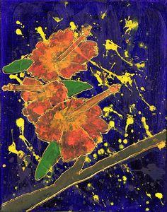 Splashed Hibiscus Painting