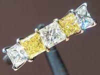 Diamond Rings: 1.16ctw E-F and Fancy Intense Yellow Princess Cut Five Stone Ring R5530