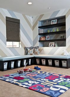 Sleek and sophisticated basement playroom idea
