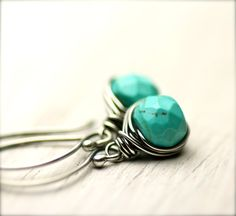 Handmade Wire Wrapped Turquoise Earrings