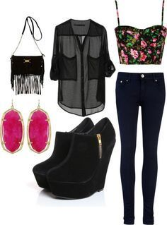Black Skinny Jeans, A Black And Hot Pink Floral Crop Top, Black Shirt, Black Heels, Black Fringe Bag And Pink Earrings.