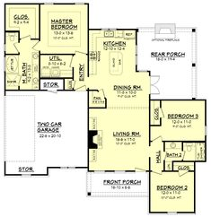 Cottage Style House Plan - 3 Beds 2 Baths 1600 Sq/Ft Plan #430-108 Main Floor Plan - Houseplans.com
