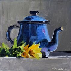 """Daily Paintworks - """"Blue Enameled Teapot with Sunflowers on Gray"""" - Original Fine Art for Sale - © Gretchen Hancock Guache, Art Drawings Sketches Simple, Still Life Art, Gouache Painting, Fine Art Gallery, Art And Architecture, Painting Techniques, Painting Inspiration, Canvas Art"""