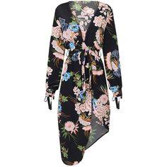 Black Printed Wrap Asymmetric Hem Plunge Long Sleeve Midi Dress (3.250 RUB) via Polyvore featuring dresses, asymmetrical hem dresses, mid calf dresses, plunge dress, long sleeve midi dress и long sleeve dress