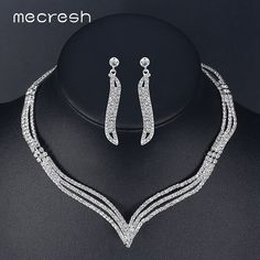 Promotion price Mecresh Simple Crystal Bridal Jewelry Sets Silver Color Rhinestone Earrings Necklace Sets for Women Wedding Accessories TL296 just only $5.52 with free shipping worldwide  #weddingengagementjewelry Plese click on picture to see our special price for you