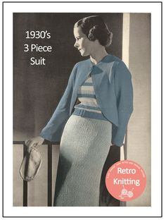 1930's  3 Piece Suit  Knitting Pattern  Instant by MyVintageWish