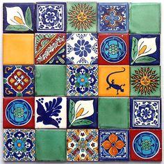 patchwork fliesen bemalte kacheln aus mexiko f r die wand von mexambiente bunt mexikanisch. Black Bedroom Furniture Sets. Home Design Ideas