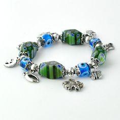 Evil Eye Elastic Charm Bracelet - Green & Flower Pattern Glass Ornament - Evil Eyes - Paykoc Imports, Inc