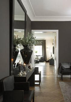 Beautiful home in Oslo with grey walls, crisp white trim + a century herringbone floor. Decoration Inspiration, Interior Inspiration, Style At Home, Grey Walls White Trim, Home And Deco, Room Colors, Paint Colors, Wall Colors, My New Room