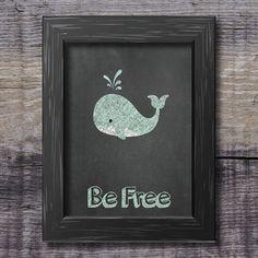 Printable chalkboard nursery decor - Chalk - Kids room decoration - Be free - Whale - Sea - Ocean - Animals - Baby - Animal - School board by JuffrouwToosDesigns Coastal Nursery, Modern Nursery Decor, Nursery Neutral, Nursery Themes, Nursery Wall Art, Blue Pallets, Ocean Room, Whale Art, Sea And Ocean
