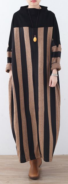 $70.00-khaki striped long sweaters Loose fitting pullover Fine high neck winter dresses