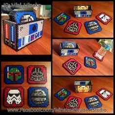 Star Wars Coaster Set w/Box perler beads by MinakosBeadArtStudio