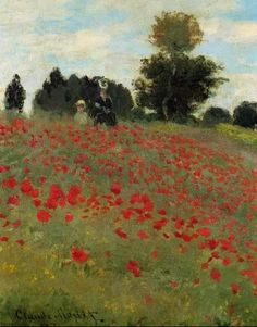 Claude Monet - Les Coquelicots à Argenteuil. His style of painting nature is exquisite. It looks simple, yet I'm sure it isn't simple to paint at all. Claude Monet, Monet Paintings, Landscape Paintings, Renoir, Artist Monet, Manet, Art Reproductions, Oeuvre D'art, Poppies
