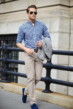 Johnston & Murphy shirt | H&M trousers | Tods shoes | Check out the outfit at http://iamgalla.com/2014/06/checked/