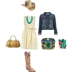 Have always loved a little dress with cowboy boots and denim jacket.