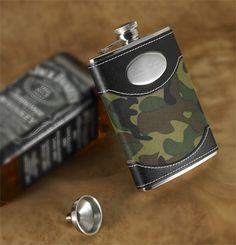 The personalized Camouflage Flask is the perfect gift for the outdoors men, hunter, camper or tailgater. A great gift idea for the groomsmen too.