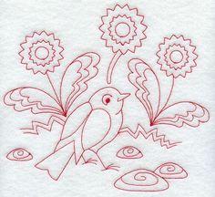 Spring Robin (Redwork)