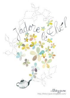 I Love Tea Watercolor Art Print/J'adore le Thé by thevysherbarium, $23.00